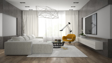 Interior of stylish modern room  with grey sofa 3D rendering