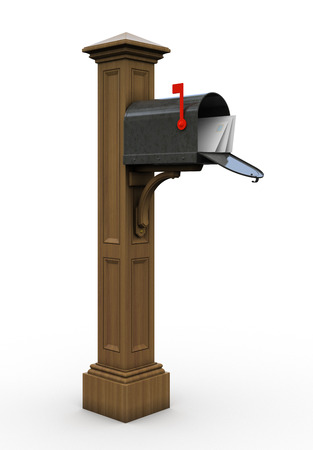 Retro open mailbox isolated on white background Stock Photo