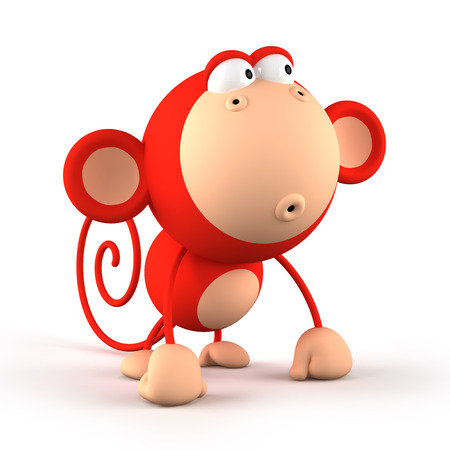 Cartoon red monkey isolated on white background 3D rendering Stock Photo