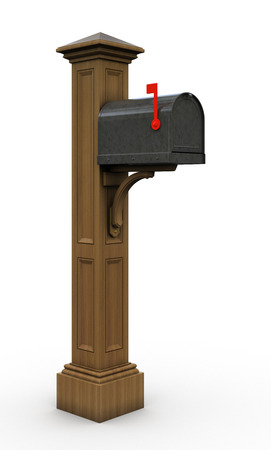 Retro  mailbox isolated on white background 3D