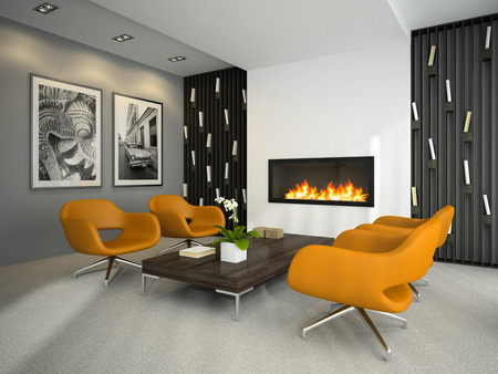 Interior of modern room with yellow armchairs 3D rendering