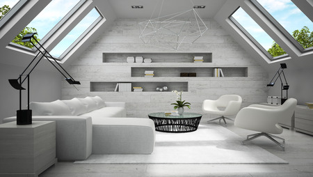 Interior of stylish light  mansard room 3D rendering Stock Photo