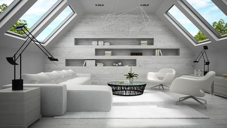 mansard: Interior of stylish light  mansard room 3D rendering Stock Photo