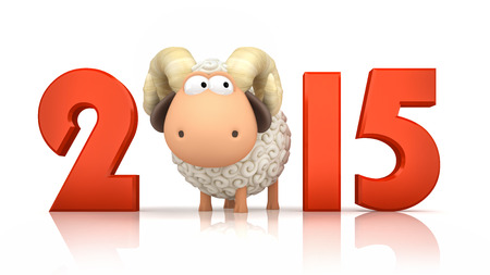 Sheep and 2015 on white background Stock Photo