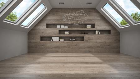 mansard: Empty mansard room with shelfs 3D rendering Stock Photo