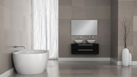 bathroom tile: Interior of modern bathroom with granite tile walls 3D rendering