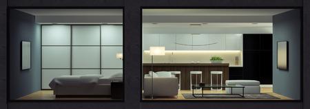 Nacht Innere des modernen Loft Blick von außen 3D-Rendering Standard-Bild