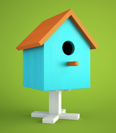 summer house: Blue nesting box isolated on green background 3D