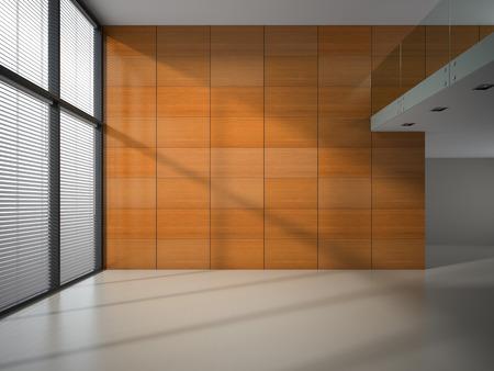 木製パネル壁の 3 D レンダリングと空の部屋 写真素材