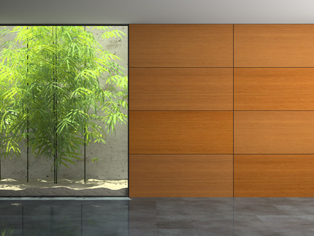 Empty room with wooden panel walls 3D rendering Stock Photo
