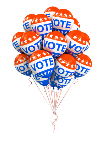 Bunch of american VOTE ballons isolated on white background