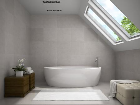 Interior Of Modern Bathroom With Wooden Cupboards 3D Rendering Stock ...