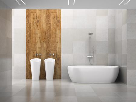 Interior of the modern design  bedroom wooden wall 3D rendering