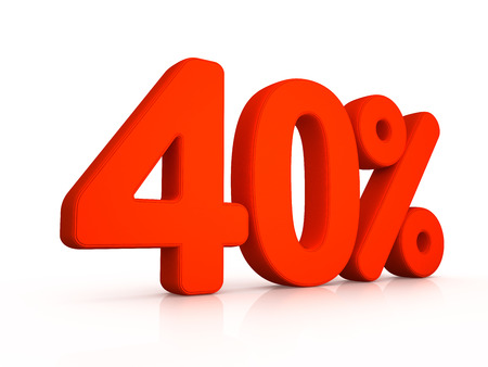 forty: Forty percent simbol on white background 3D Stock Photo