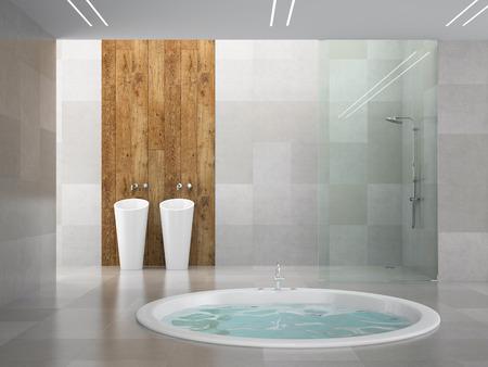 ceramica: Inter de la habitación de diseño moderno con la pared de madera representación 3D