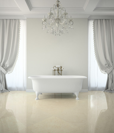 shower curtain: Interior of classic bathroom with chandelier 3D rendering