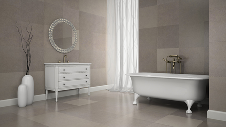 bathroom tiles: Interior of classic bathroom with gray tiles  wall 3D rendering