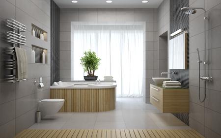 モダンなデザインのバスルーム 3 D レンダリングのインテリア