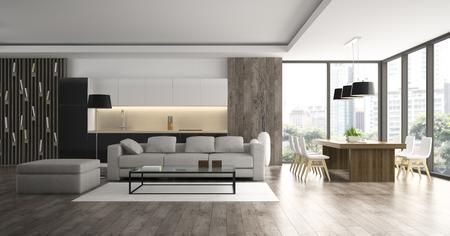 Intérieur du rendu 3D de loft design moderne