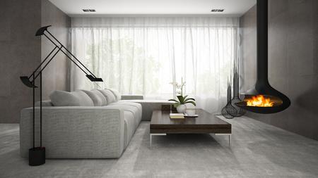 Interno della sala di design moderna con camino Rendering 3D