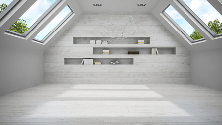 shelfs: Empty light mansard room with shelfs 3D rendering Stock Photo
