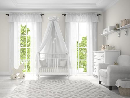 3 D レンダリングでクレードルの古典的な子供部屋 写真素材