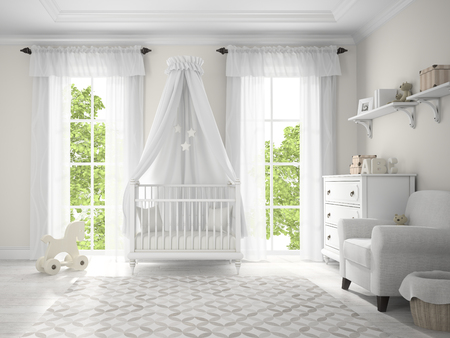 nursery room: Classic children room with cradle 3D rendering