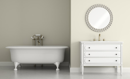 Interior of classic bathroom with round mirror 3D rendering 스톡 콘텐츠