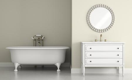 Interior del cuarto de baño clásico con espejo redondo representación 3D Foto de archivo