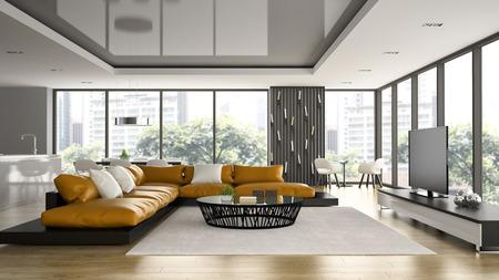 Interior of modern design loft with orange sofa 3D rendering