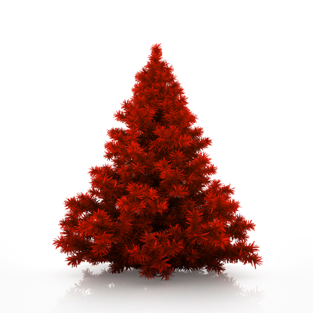 trees seasonal: Red christmas tree isolated on white background