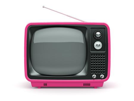TV retro rosa sobre fondo blanco Foto de archivo