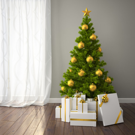 christmas room: Christmas tree with gold decor in classic style room with dark floor. 3D interior rendering