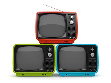 retro tv: Multicolored pyramid of retro TV white background Stock Photo