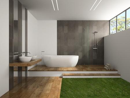 Interior del cuarto de baño con suelo de hierba representación 3D Foto de archivo