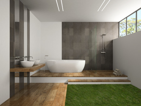Interior of the bathroom with grass floor 3D rendering