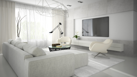 Interior of stylish modern room  with white sofa 3D rendering