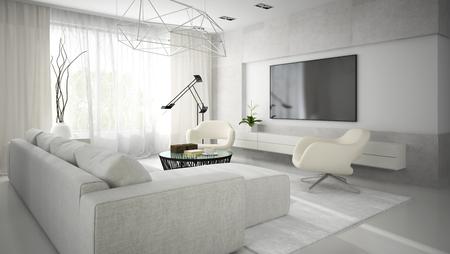 Inter de chambre moderne et élégante avec un canapé blanc rendu 3D