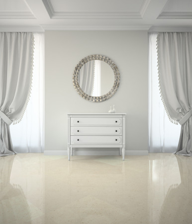 clean home: Interior of classic room with round mirror and cabinet 3D rendering
