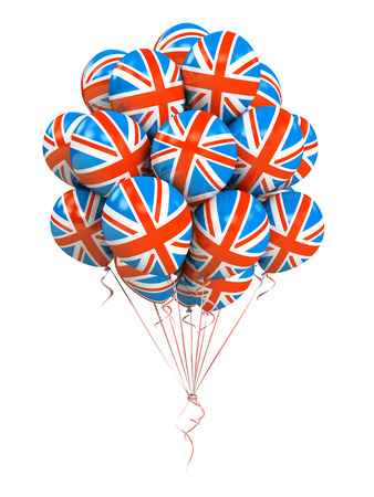 england politics: Bunch of Great Britan flag balloons isolated on white background