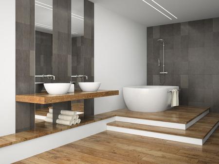 bathroom design: Interior of  bathroom with wooden floor 3D rendering