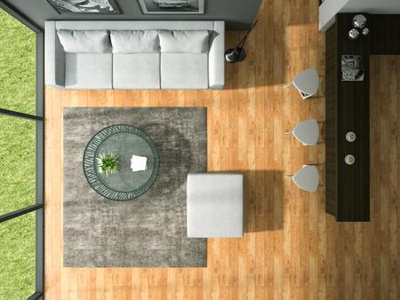 trompo de madera: Vista superior de la moderna sala de diseño de interiores representación 3D