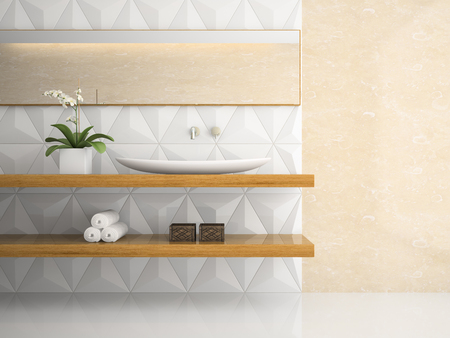 white bathroom: Part of interior stylish white bathroom 3D rendering Stock Photo