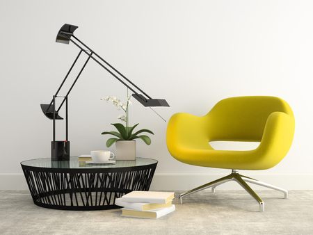 Part of interior with  modern yellow armchair 3d rendering Imagens