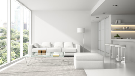 Interior of the modern design  loft in white  3D rendering 스톡 콘텐츠