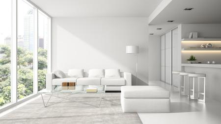 Interno del design loft moderno in bianco rendering 3D