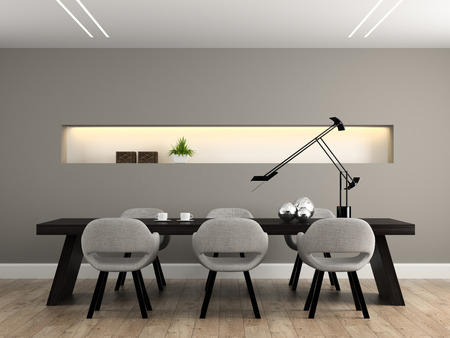 wood room: Modern interior dining room 3D rendering Stock Photo
