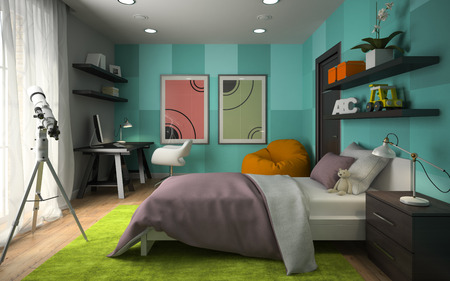 vivid: Interior of modern childroom  with blue wall 3D rendering