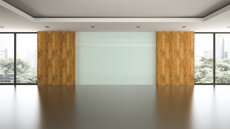 glass panel: Empty room with glass panel wall 3D rendering