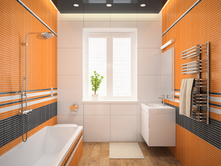 bedroom wall: Interior of the modern design  bedroom with orange wall 3D rendering Stock Photo